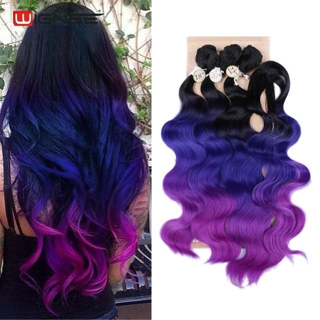 Wignee Extensions de cheveux synthétiques longues ondulées avec Closure, tissage résistant à la chaleur, de couleur violette/grise, pour femmes