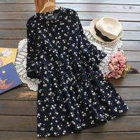 2017 Autumn Pastoral Country Daisy Flowers Print Basic Loose Long Sleeve Corduroy One Piece Dress Female