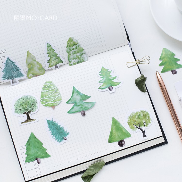 46 pcs pack Creative Trees Decorative Stickers Forest Plant Paper Stickers Scrapbooking for Diary Photo Album Decoration Sticker in Stationery Stickers from Office School Supplies
