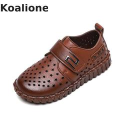 Boys Leather Shoes For Kids School Wedding Party Black Dress Student Shoes Children Moccasins Hollow Out Breathable Loafers New