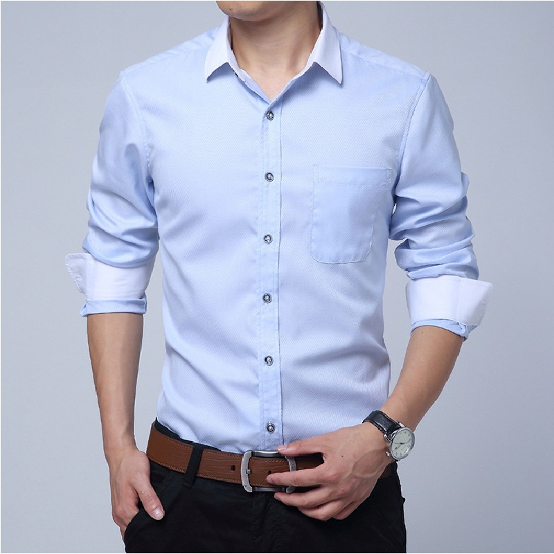 New Men Dress Shirts Men s Casual Long Sleeve Business Formal Shirt Slim Fit Camisa Social