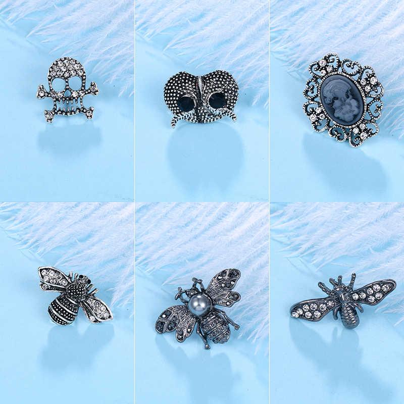 Baiduqiandu di marca di nuovo arrivo nero tono del metallo della lega bee e del gufo pins per le borse cappelli pattini di vestito