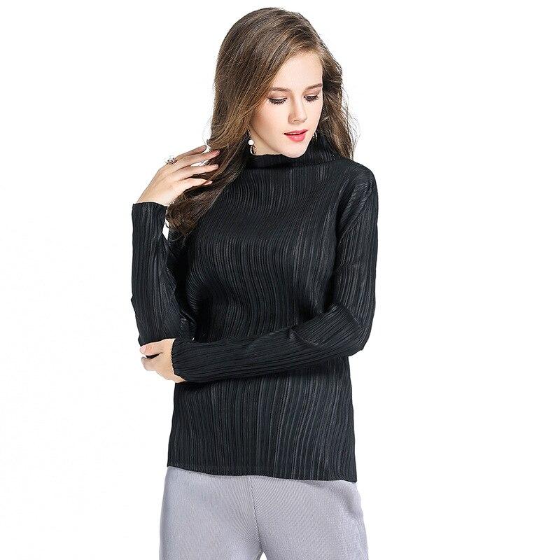 Miyake Autumn and winter long sleeved T-shirt women slim shirt ladies temperament turtleneck fold tshirt free shipping