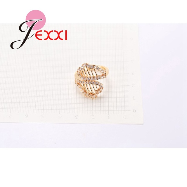 JEXXI Female Jewelry Lovely Hollow Leaf Design Rings Shining Yellow Gold Color Wedding Engagement Bride Ring Accessory