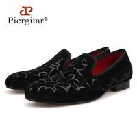 Piergitar/2018 роскошный ручной работы блесток черный Бархатные мужские туфли Для мужчин для свадьбы и праздника Лоферы Мужская обувь на плоской