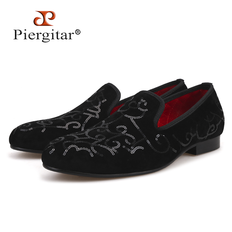 Piergitar 2018 Luxurious Handmade Sequin Black Men Velvet Shoes Men Wedding and Party Loafers Men's Flats plus size недорго, оригинальная цена