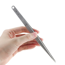 AT-18K 7″ 18cm Long Tweezers Stainless Steel Electronic Pointed Tip Straight Tweezer Forceps