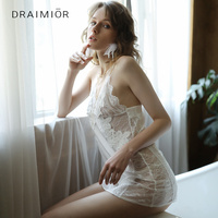 DRAIMIOR New Fancy Women Sexy Lingerie Lace Babydoll Chemise Porno Sex Underwear Dress Transparent Erotic Lingerie DR0014