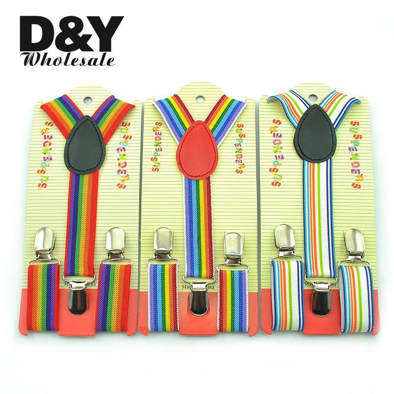 3 Colors Cute 2.5x65cm Rainbow Stripe Kids Suspenders Children/Boys/Girls Elastic Braces Slim Suspender Y-back Suspender Braces