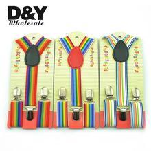 3 kolory śliczne 2 5x65cm tęczowy pasek szelki dla dzieci dzieci chłopcy dziewczęta elastyczne szelki Slim szelki szelki y-szelki tanie tanio W paski Nowość Unisex Poliester 25 5inch 2 5 kids suspenders Rainbow Stripe suspender for kid 1 inch