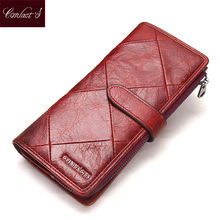 2017 Genuine Cowhide Leather Women Wallet Phone Pocket Purse Wallet Female Card Holder Lady Clutch Patchwork Carteira Feminina(China)