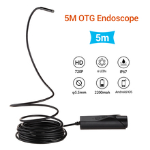 5.5mm OTG Endoscope Snake Tube Borescope HD Inspection Camera Video 5M IP67 Waterproof 2MP 720P 6LED Micro USB For Android IOS 1080p full hd android endoscope camera ip67 1920 1080 2m 5m micro usb inspection video camera snake borescope tube