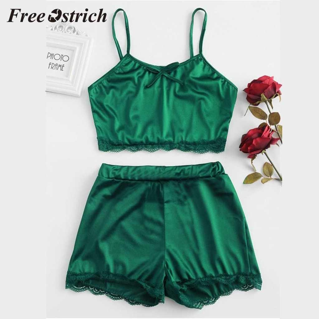 Gratis Burung Unta 2019 Fashion Hot Penjualan Wanita Baju Tidur Tanpa Lengan Busur Lingerie Baju Tidur Hiasan Renda Satin Top Piyama Set untuk Wanita