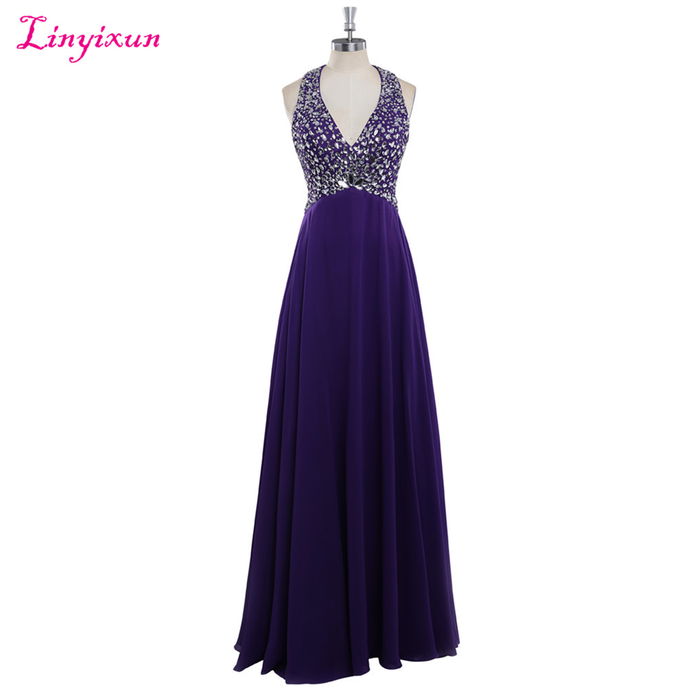 Linyixun Real Photo New Arrived Long   Prom     Dresses   2017 Sparking Beaded Crystal V Neck A line Long Chiffon Formal Evening   Dresses