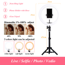 3200K-5600K LED Ring Light Photo Studio 10 Light Photography Dimmable Lighting Video for Smartphone with Tripod Phone Holder supon l122t 3 sets led video light studio light photographic lighting with tripod 3200k 5600k panel lamps for photo youtube
