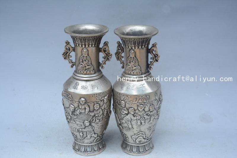 Très rare dynastie Qing (QianLong1711-1799) vase en argent, une paire, jeux pour enfants, avec marque, décoration, livraison gratuite,