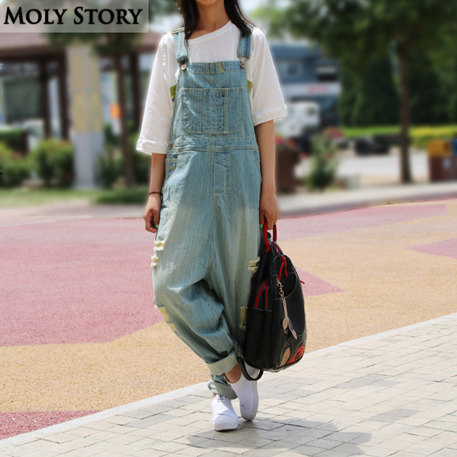 afc361640ca Casual Loose Plus Size Denim Overalls Women Ripped Jean Jumpsuit Boyfriend  Wide Leg Jeans Harem Pants Trousers