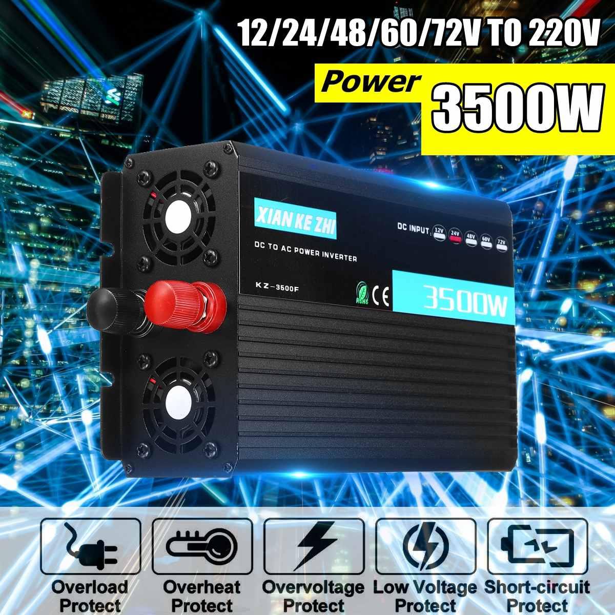Convertisseur à onde sinusoïdale modifiée 3500 W affichage Intelligent onduleur à usage domestique DC 12/24/48/60/72 V à AC 220 V alimentation de protection Multiple
