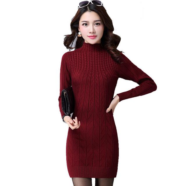 2016 New Arrival Women Autumn/Winter Dress 5 Colors Knitting Warm Sheath Plus Size S-3XL Casual Women's dresses vestidos