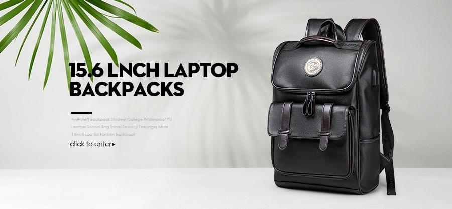47b6a8edff70 LIELANG Men Backpack Waterproof Black PU Leather School Bags Student Travel  Teenager 14-inch Shoulder Bag Laptop BackpackUSD 35.19 piece