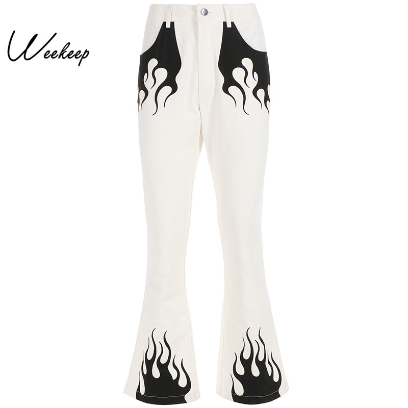 Weekeep White High Waist   Wide     Leg     Pants   Women Flame Print High Street Trousers Women 2019 Spring Autumn Cotton   Pants