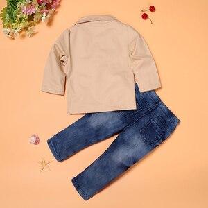 Image 4 - 3 adet güz çocuk beyefendi takım elbise ceket + beyaz uzun kollu T shirt + kot giyim seti için 3 4 5 6 7 8 yıl çocuk boys kıyafetler