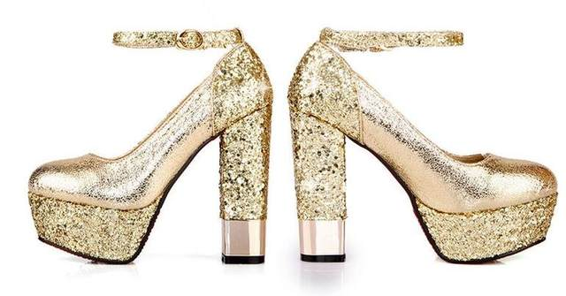 Online Shop Fashion high-heeled shoes thick heel platform champagne ... df5fb794c7a9