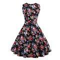 Impresión floral 50 s 60 s vintage pin up vestidos sin mangas audrey hepburn retro summer dress vestidos robe mujeres plus tamaño 4xl