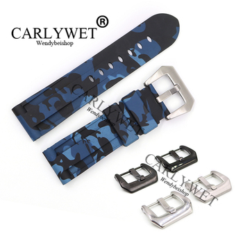 CARLYWET 24mm Camo Light Blue Waterproof Silicone Rubber Replacement Wrist Watch Band Strap Belt With Buckle For Luminor carlywet 22 24mm top quality luxury camo waterproof silicone rubber replacement wrist watch band loops strap for panerai luminor