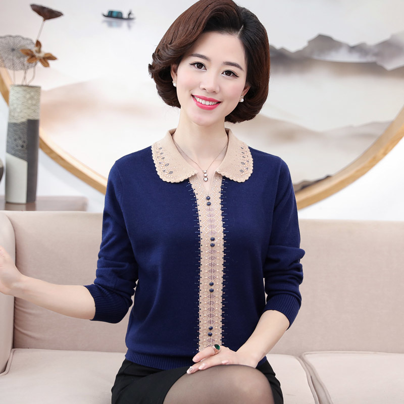 Autumn Winter Middle Aged Women Cashmere Sweater Fashion Casual Pullovers Sweater High Quality Slim Long Sleeve