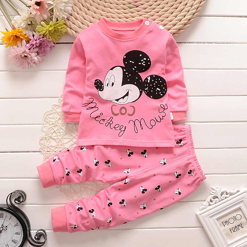 Spring Autumn Baby Clothes Set Baby Boys Girls Round Neck Long Sleeve Pants Suit