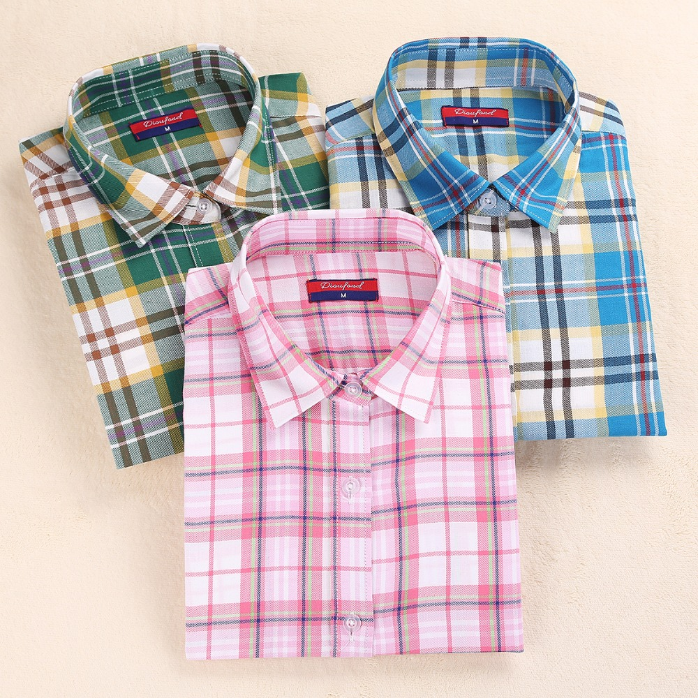 Dioufond Clearance Women Shirts Long Sleeve Plaid Blaid Turn Down - Pakaian wanita - Foto 1