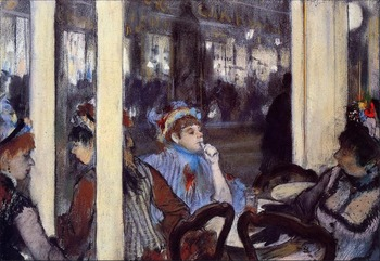 High quality Oil painting Canvas Reproductions Women on a Cafe Terrace in the Evening (1877) By Edgar Degas hand painted