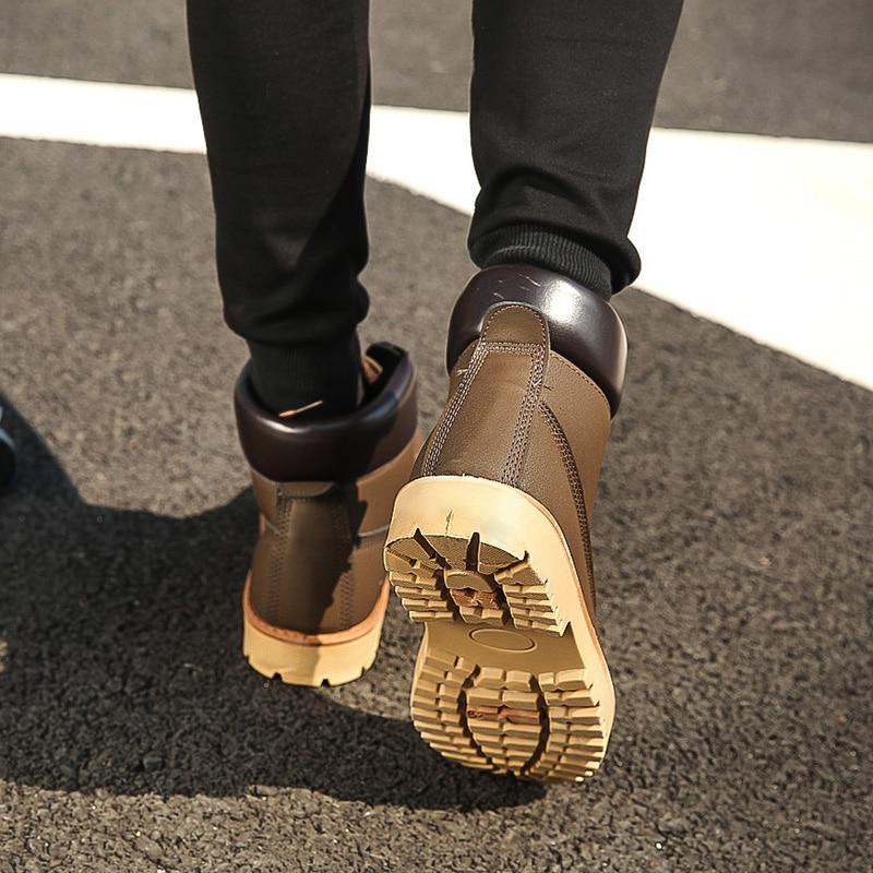 2018 Travail Cuir jaune Daim En marron Hommes Nouvelle Chaussures Bottes Mode Printemps Noir Arrivée De Automne Style Mâle qT67IwT