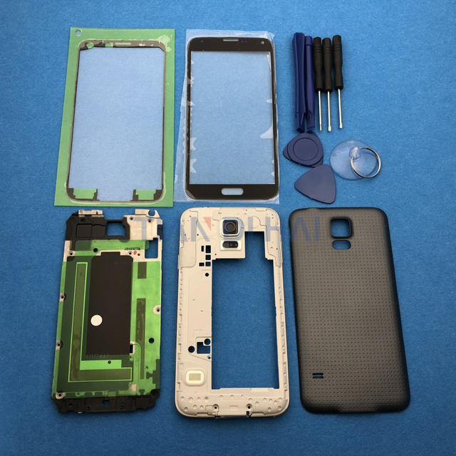 Full Housing Case Cover Replacement Parts For Samsung Galaxy S5 SV G900 I9600 + Outer glass + Sticker + tools