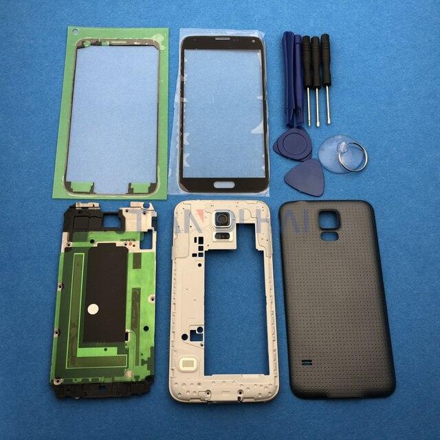 Чехол с полным покрытием корпуса, запасные части для Samsung Galaxy S5 SV G900 I9600 + внешнее стекло + наклейка + Инструменты