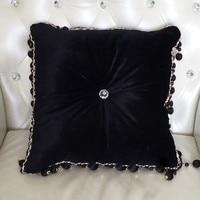 #1146 Novo de veludo preto de luxo sofá almofada com enchimento de borla rodada cadeira de carro ao redor da cama casa ornamento atacado