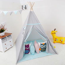 Princess Teepee Play Tent Large Handcraft Cotton Canvas Indoor Outdoor Kids Tipi Playhouse Boys Girls Baby Gift Grey-Blue Star blue grid teepee tent for kids boys tipi tent wigwam playhouse