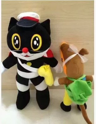 Free shipping 35cm-50cm Plush Toy Black  white Cat Toy  Simulation Cartoon Black Sergeant Doll Child Day Gift 1pc 28cm cartoon simulation 3d cat
