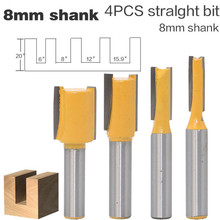 """4pcs/set 8mm Shank 3/8""""W x20""""H Straight/Dado Wood Router Bits Straight Flat End Mills Cutters For Wood Woodworking Tools"""