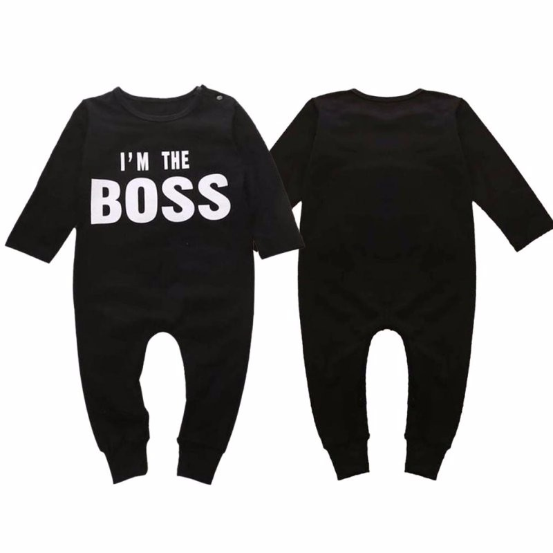 Letter Printed I M The Boss Baby Kids Cute Pattern Outfits Sets Boys Girls Long Sleeve Romper Jumpsuit Bodysuit Kids Clothes