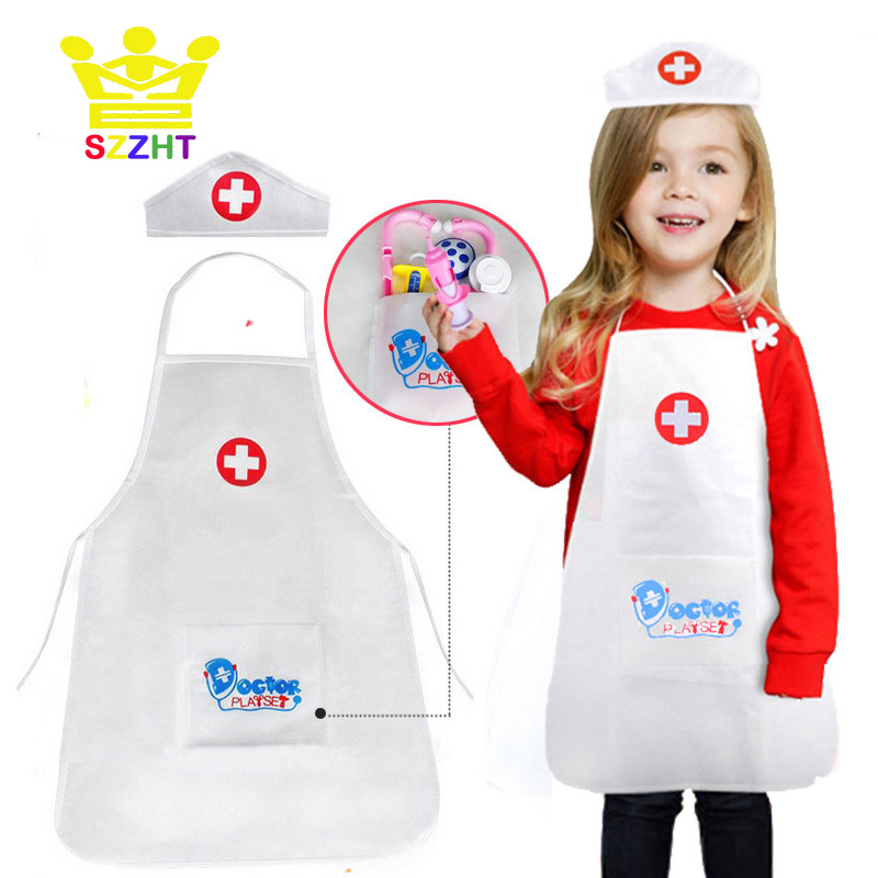 Kids Pretend Play Nurse Doctor Uniform Cosplay Game Clothing Props Role Play Performing Costume For Girl Festival Birthday Gifts