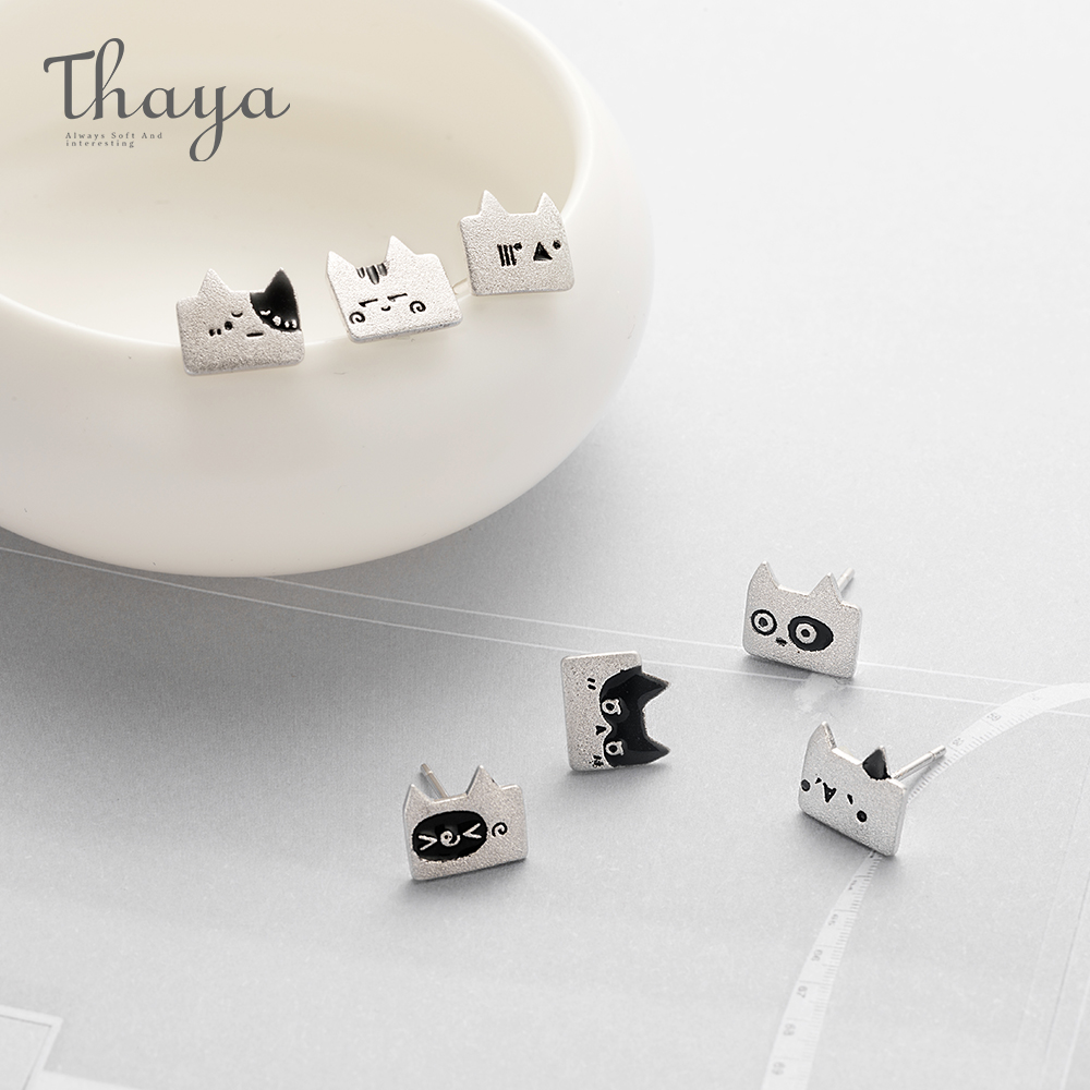 Thaya Expression Cat Weekly Series S925 Stud Earrings Animal Design for Woman Jewely Gift