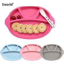 Eworld 4 цвета малыша силикона для кормления тарелка Пищевой Силиконовый поднос контейнер для еды лоток посуда для детской посуды