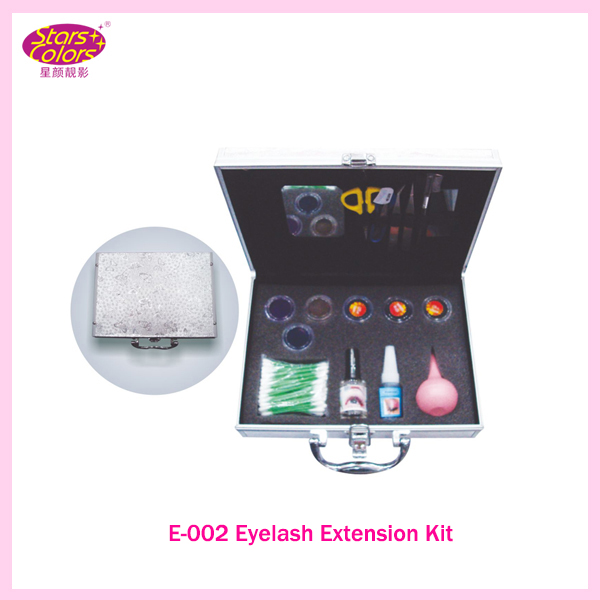 2016  New False Extension Eyelash Glue Brush Kit Set Salon Eyelashes Makeup Tools Silvery Box Eyelash Extension Kit 2016 new arrival black dual purpose eyelash assist device extension beauty supplies brow brush lash comb makeup brushes tools