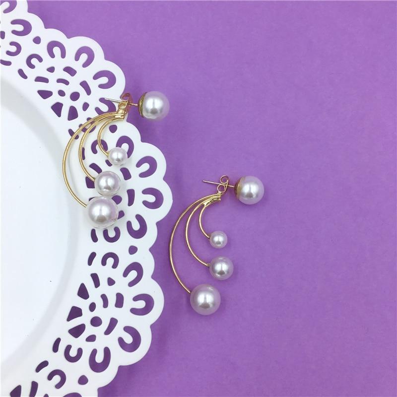 S925 silver needle long U shaped pearl earrings retro French romantic simple earrings for women in Drop Earrings from Jewelry Accessories