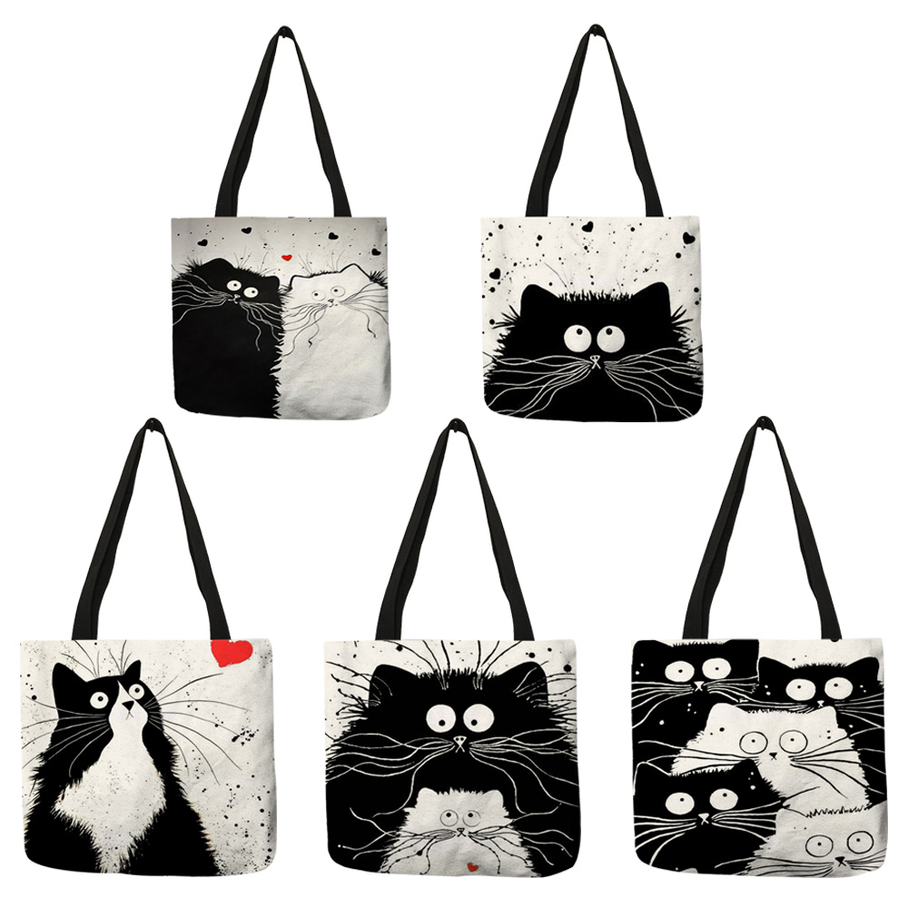Customized Cute Cat Printing Women Handbag Linen Tote Bags with Print Logo Casual Traveling Beach Bags 4