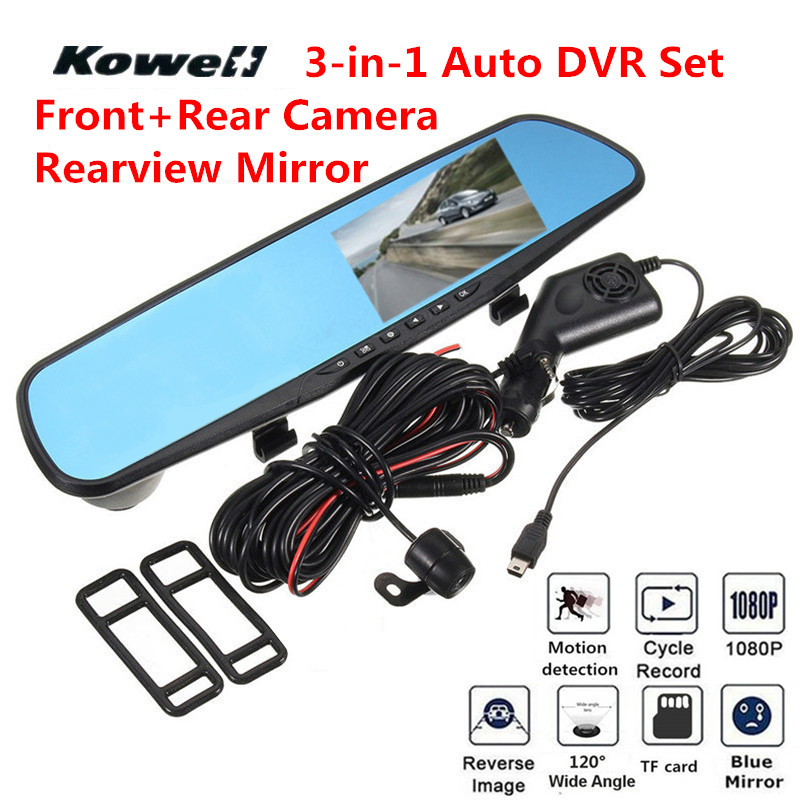 3 in 1 1080P HD 120 Degree Wide Vision Car DVR & Rear View Mirror Kit Interior Mirrors Inside Flat Rearview Mirror Car-Styling