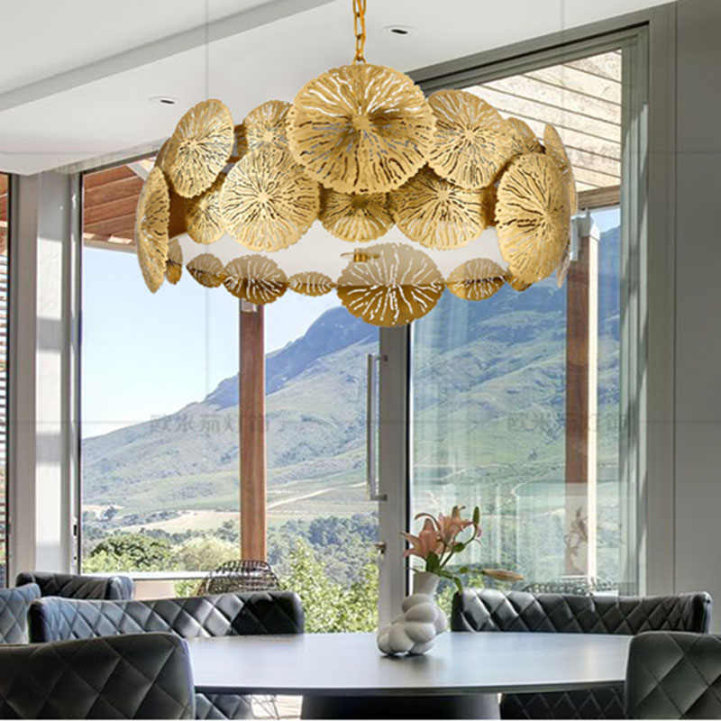 Modern Chandelier All Copper Lotus LED lamp Chandelier Antique Dining Room Hanging Lamps Home Decoration Chandelier F043
