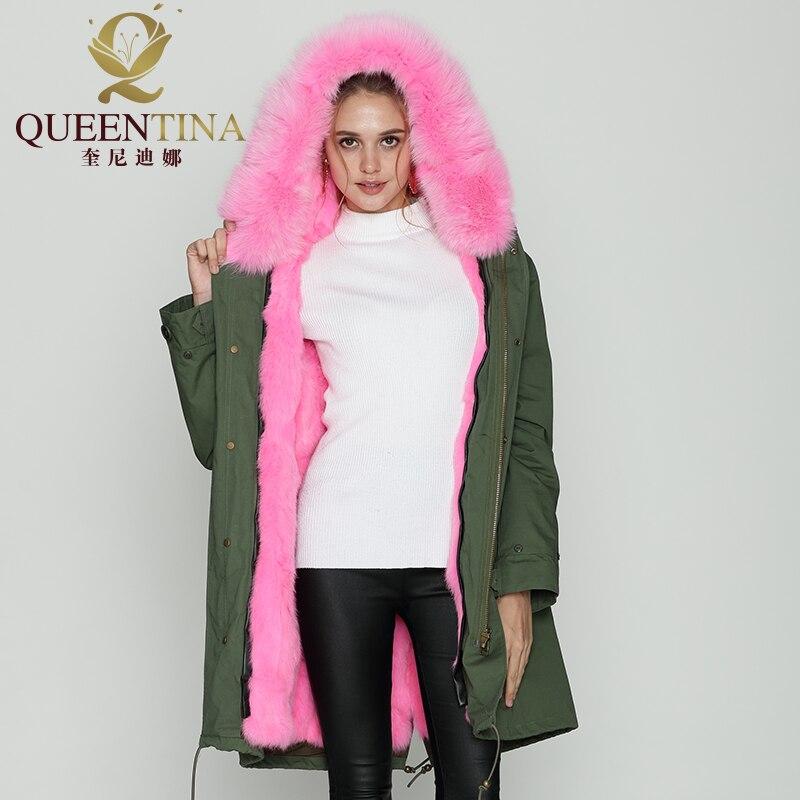 Épais Manteaux Capuche Femmes Veste Avec À Naturel Capuchon Manteau Lapin De Réel Vert Outwear Parkas Fourrure Rose Longue T4wzZqwP